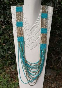 Jewelry - 🌵 Gypsy southwest long wide turquoise ethnic gold